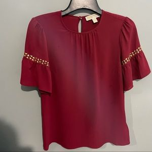 Michael by Michael kors red blouse gold stud small